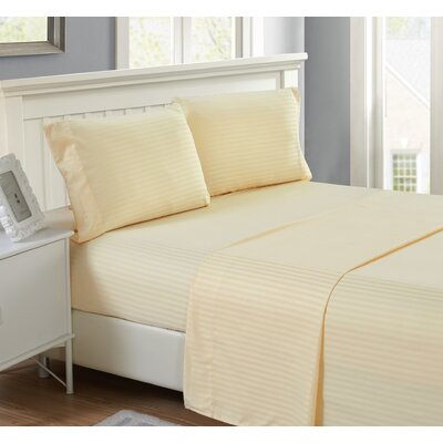 Harvard Stripe Microfiber 4 Piece Sheet Set Size: Full, Color: Vanilla