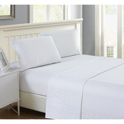 Harvard Stripe Microfiber 4 Piece Sheet Set Size: Queen, Color: White