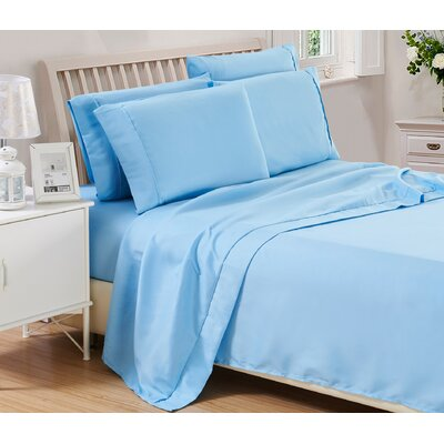Harvel Solid Microfiber 4 Piece Sheet Set Size: King, Color: Blue