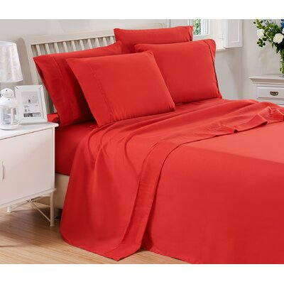 Harvel Solid Microfiber 4 Piece Sheet Set Size: Twin, Color: Burgundy