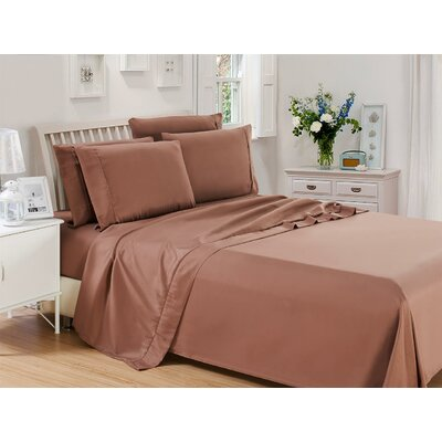 Harvel Solid Microfiber 4 Piece Sheet Set Size: King, Color: Brown