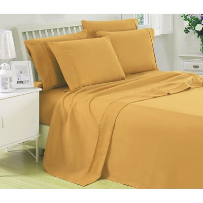 Harvel Solid Microfiber 4 Piece Sheet Set Size: King, Color: Gold