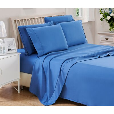 Harvel Solid Microfiber 4 Piece Sheet Set Size: King, Color: Navy Blue