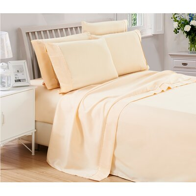 Harvel Solid Microfiber 4 Piece Sheet Set Size: King, Color: Vanilla