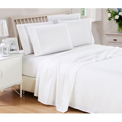 Harvel Solid Microfiber 4 Piece Sheet Set Size: King, Color: White