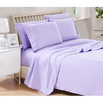 Harvel Solid Microfiber 4 Piece Sheet Set Size: King, Color: Purple