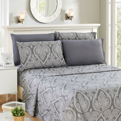Hawthorn Microfiber 6 Piece Sheet Set Size: King, Color: Gray
