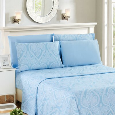 Hawthorn Microfiber 6 Piece Sheet Set Size: Queen, Color: Blue