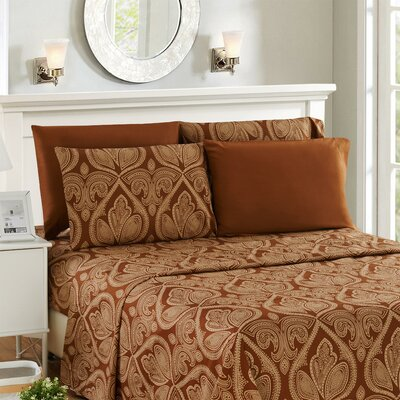 Hawthorn Microfiber 6 Piece Sheet Set Size: King, Color: Chocolate