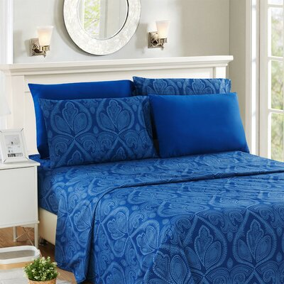 Hawthorn Microfiber 6 Piece Sheet Set Size: Full, Color: Navy Blue