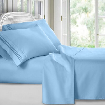 Harville Ultra-Soft Embroidery Microfiber 4 Piece Sheet Set Size: King, Color: Blue
