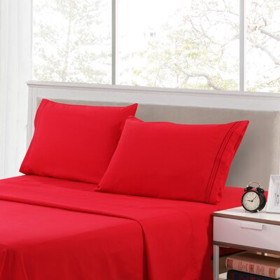 Harville Ultra-Soft Embroidery Microfiber 4 Piece Sheet Set Size: Twin, Color: Burgundy