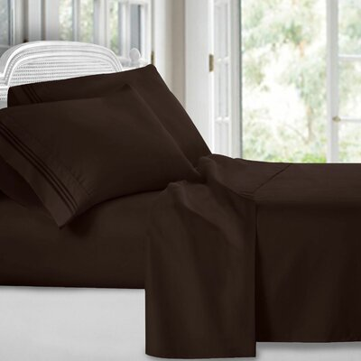 Harville Ultra-Soft Embroidery Microfiber 4 Piece Sheet Set Size: King, Color: Brown