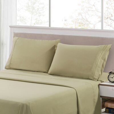 Harville Ultra-Soft Embroidery Microfiber 4 Piece Sheet Set Size: King, Color: Green