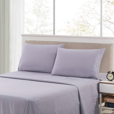 Harville Ultra-Soft Embroidery Microfiber 4 Piece Sheet Set Size: King, Color: Gray