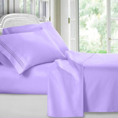 Harville Ultra-Soft Embroidery Microfiber 4 Piece Sheet Set Size: Full, Color: Lavender