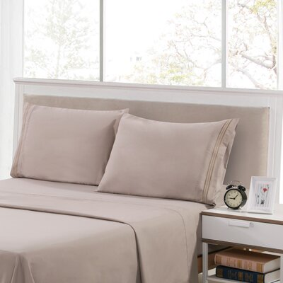 Harville Ultra-Soft Embroidery Microfiber 4 Piece Sheet Set Size: Twin, Color: Taupe
