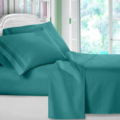 Harville Ultra-Soft Embroidery Microfiber 4 Piece Sheet Set Size: Twin, Color: Teal
