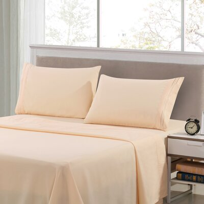 Harville Ultra-Soft Embroidery Microfiber 4 Piece Sheet Set Size: King, Color: Vanilla