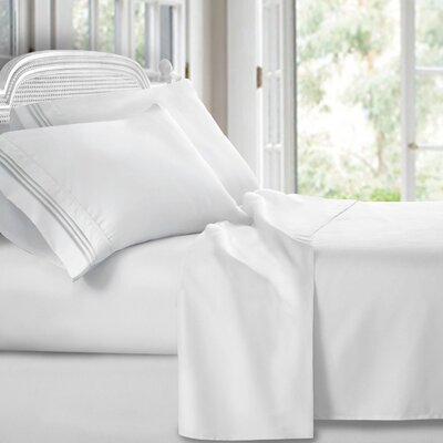Harville Ultra-Soft Embroidery Microfiber 4 Piece Sheet Set Size: Queen, Color: White