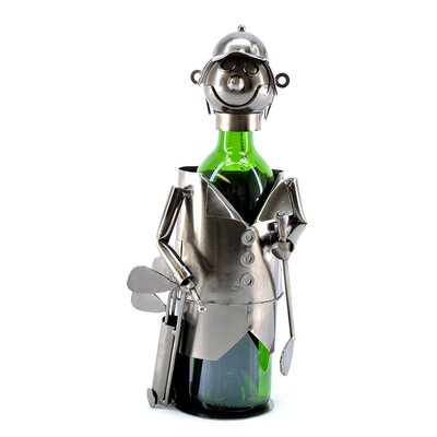 Freeman Golfer with Bag 1 Bottle Tabletop Wine Rack