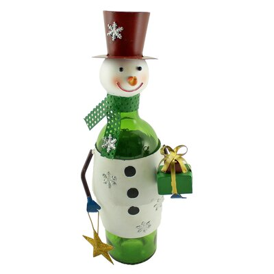 Metal Christmas Snowman with Gift and Wishing Star 1 Tabletop Wine Bottle Holder