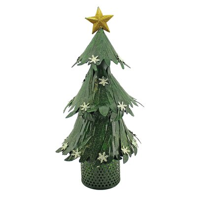 Shimmering Christmas Tree with Star and Snowflakes 1 Bottle Tabletop Wine Holder