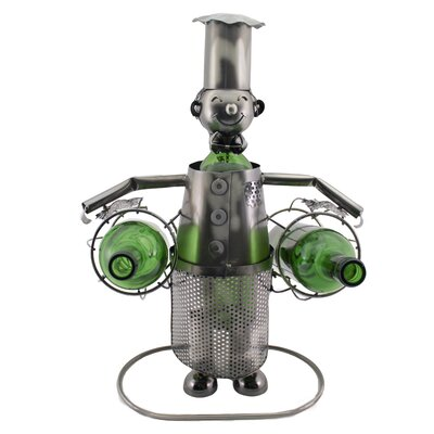 Barney Happy Chef Holding 2 Bottle Tabletop Wine Bottle Holder