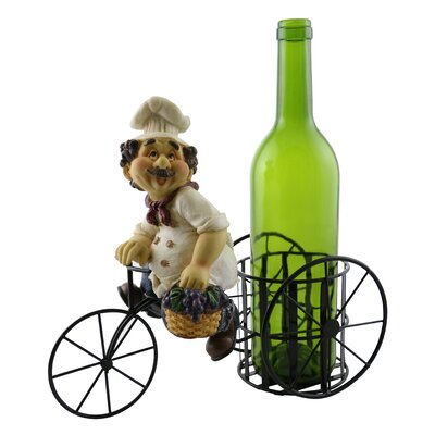 Luann Happy Chef on Bicycle 1 Bottle Tabletop Wine Rack