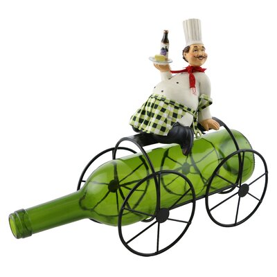 Alissa Smiling Chef Holding Wine and Cheese 1 Bottle Tabletop Wine Rack