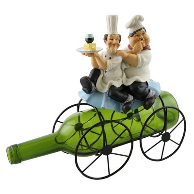 Fran Laurel and Hardy on Top of a 1 Bottle Tabletop Wine Rack
