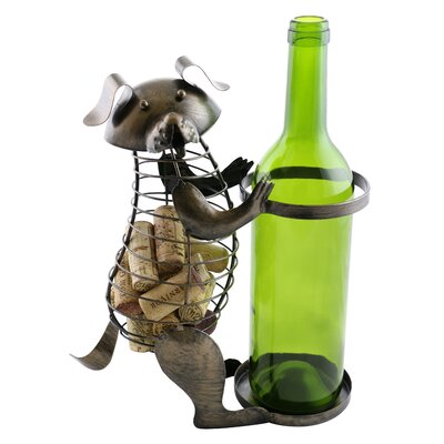 Arlinda Metal Dog Cork 1 Bottle Tabletop Wine Rack