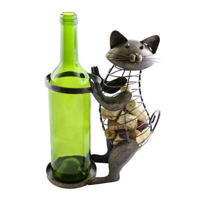 Machelle Metal Cat Cork 1 Bottle Tabletop Wine Rack