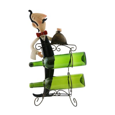 Mari Sophiscated Waiter Holding Tray of Food 2 Bottle Tabletop Wine Rack