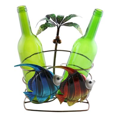 Isabella Fish and Palm Tree 2 Bottle Tabletop Wine Rack