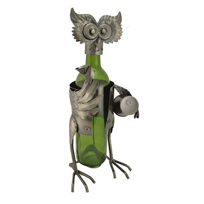Owl with Barrel 1 Bottle Tabletop Wine Rack