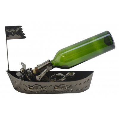Pirate In Boat 1 Bottle Tabletop Wine Rack