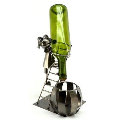 Man on Ladder 1 Bottle Tabletop Wine Rack