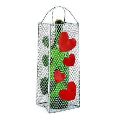 Gift Bag, Hearts 1 Bottle Tabletop Wine Rack
