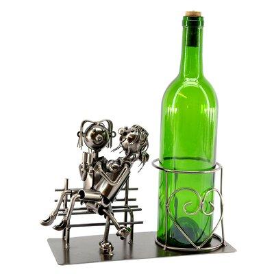 Lovers on Bench 1 Bottle Tabletop Wine Rack