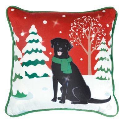 Christmas Dog LED Throw Pillow