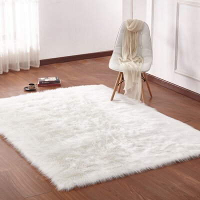 Mereworth Fox Animal Faux Fur Ivory Area Rug