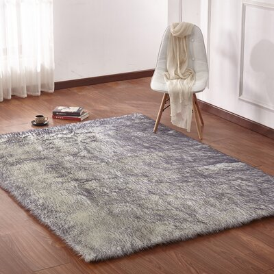 Leiker Hand-Woven Faux Fur White/Gray Area Rug Rug Size: Rectangle 76 x 103
