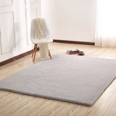 Lineberry Hand-Woven Faux Fur Gray Area Rug