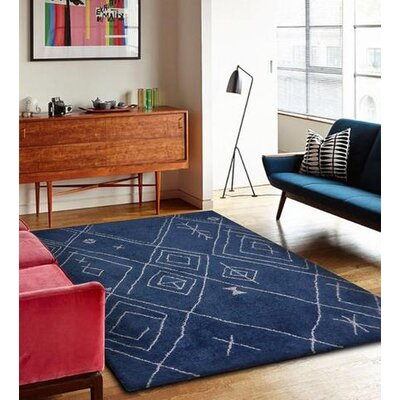 Gagliano Shag Hand-Tufted Ocean Blue/White Indoor Area Rug