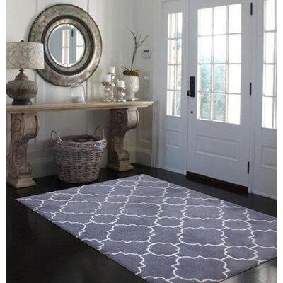 Kamiah Hand-Tufted Charcoal Gray/White Area Rug