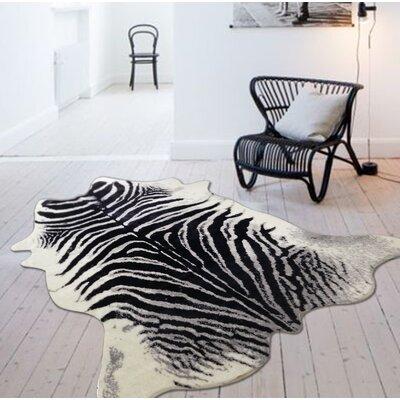Alegre Faux Zebra Shape Black/White Indoor Area Rug