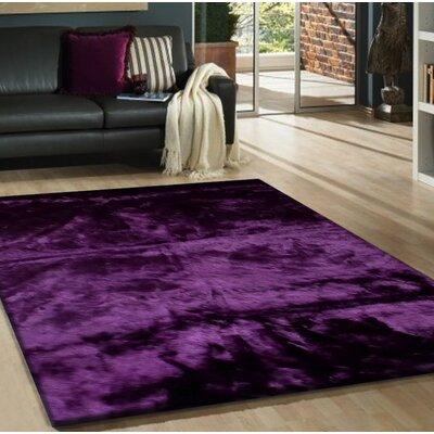 Mizzone Faux Fur Dark Purple Area Rug