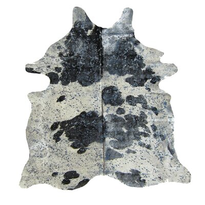 Sheryll Hand-Woven Cowhide Black/White Area Rug