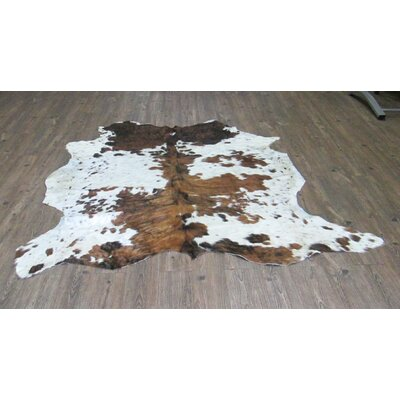 Wendell Hand-Woven Cowhide Brown/White Area Rug